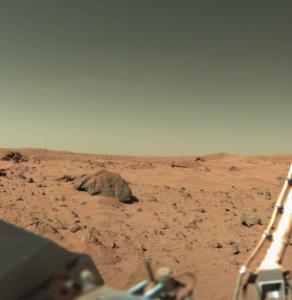 A photo of Mars' terrain as taken by Viking Lander 1 on February 11, 1978.