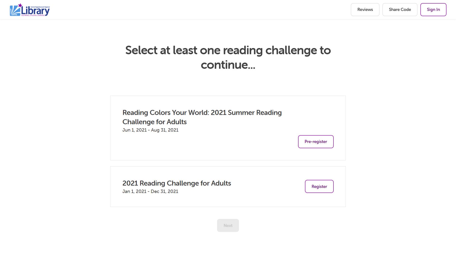 Screenshot of Beanstack Challenge registration screen