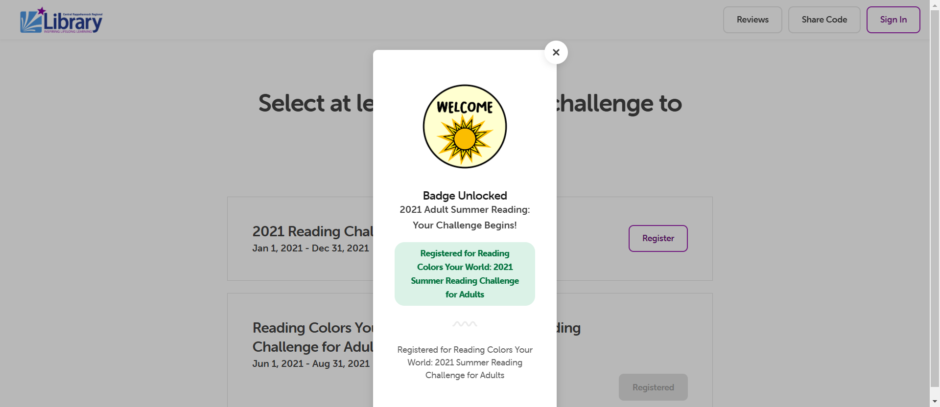Screenshot of Beanstack Challenge registration badge